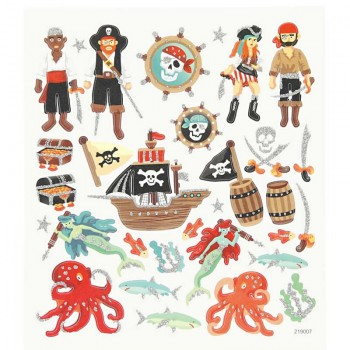 Papiersticker, 15x16,5 cm, Piraten-2, 1 Blatt