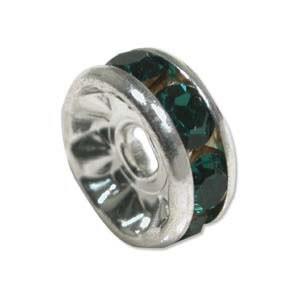 Strassrondell, Silber-Emerald , 6mm, 1 Stück