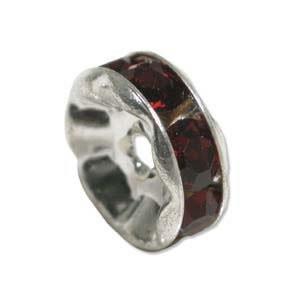 Strassrondell, Silber-Granat, 6mm, 1 Stück