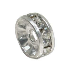 Strassrondell, Silber-Kristall, 8mm, 1 Stück