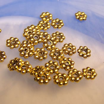 Metallperle, Blümchen, 6mm, Spacer, Antik Goldfarben, 50 Stück