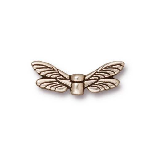 Metallperle, Libellenflügel, Antik Versilbert, 1 Stück