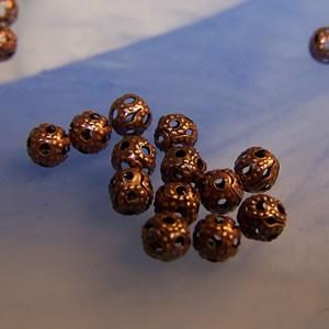 Metallperle, Kugel, Filigrana kupferfarben, 4mm, 50 Stück