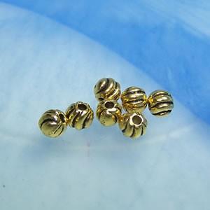 Metallperle, Kugel, Streifen, Goldfarben, 50 Stück
