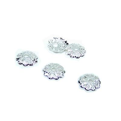 Perlkappe, Metall, Silberfarben Glänzend, Blümchenform, 6,5mm