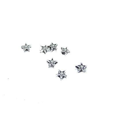 Metallperle, Sternchen, Silberfarben, 5mm, 30 Stück