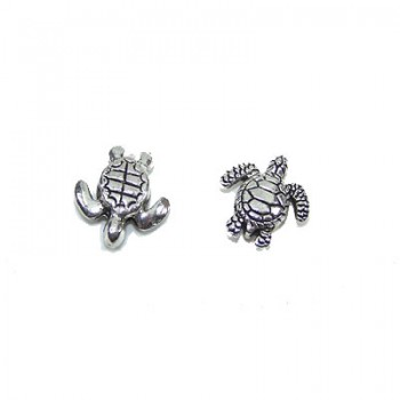 Metallperle, Wasserschildkröte, Silberfarben, 1 Stück