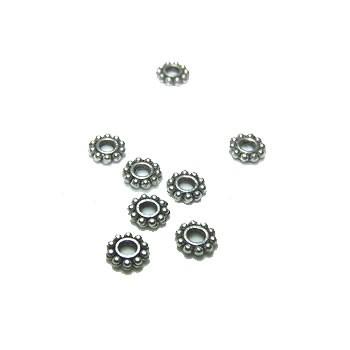 Metallperle, Blümchen, Rund, 5mm, Spacer, Silberfarben, 50 Stück