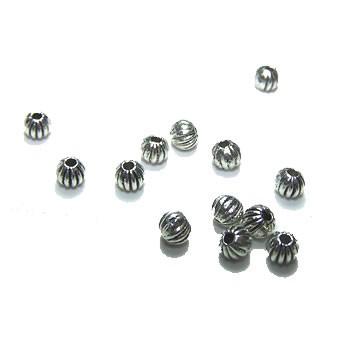 Metallperle, Kugel, Streifen Silberfarben, 50 Stück
