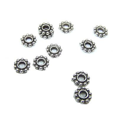 Metallperle, Blümchen, Rund, 6,4mm, Spacer, Silberfarben, 50 Stück