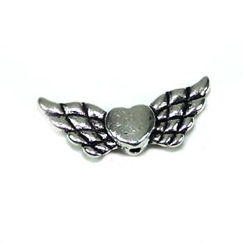 Engelsflügel, Herz, Riesig, Antik Silberfarben, 1 Stück