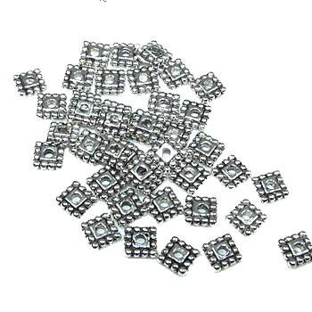 Metallperle, Viereck, Rococo, 5mm, Silberfarben, 50 Stück