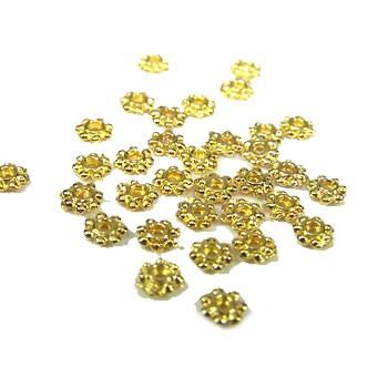 Metallperle, Blümchen, 5mm, Spacer, Goldfarben-Glänzend, 50 Stück