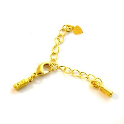 Komplettverschluss, Herz, 2mm, Goldfarben, 1 Stück
