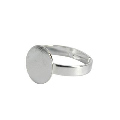 Ring mit Platte für Cabochons, 17mm, Silberfarben, 1 Stück