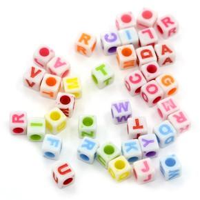 Acrylperlen, Buchstaben, Eckig, 6mm, Mix, 400 Stück