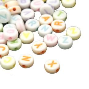 Acrylperlen, Buchstaben, A-Z, Pastell, 7mm