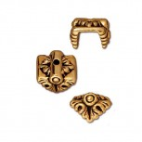Perlkappe, Antik Vergoldet, Blatt, 1 Stück
