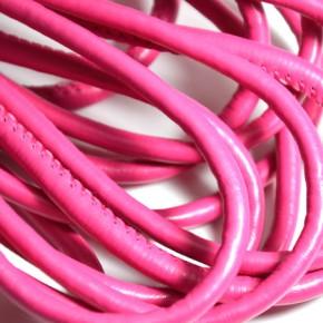 Kunstlederschnur, Genäht, 5mm, Rotrosa, 1 Meter