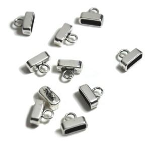 Endkappe, Metall, Silberfarben, Flach, 10/4mm, 1 Paar