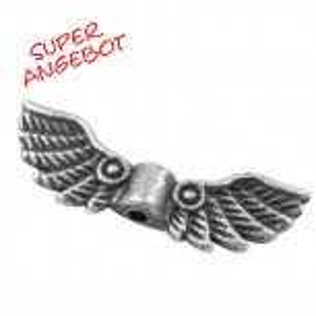 Engelsflügel, Kringel, Roma, Antik Silberfarben, 21mm, 25 Stück