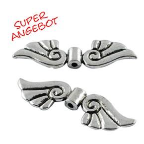 Engelsflügel, Geschwungen, Antik Silberfarben, 44mm, 10 Stück