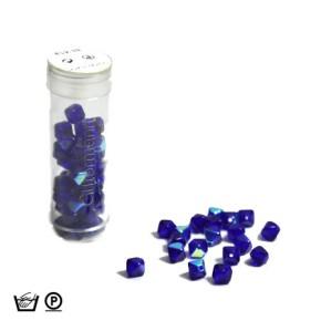 Pyramidenperle, 6mm, Dkl. Blau AB, ca. 60 Stück