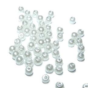 Wachs-Glasperle, Pearl Renaissance, Weiß, Glanz, 4mm, 100 St