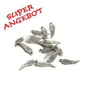 Metallanhänger, Flügel, Antik Silberfarben, 16mm, 25 Stück