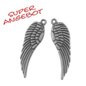 Metallanhänger Flügel, Antik Silberfarben, 30mm, 25 Stück