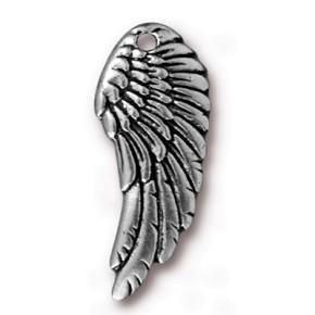 Metallanhänger, Flügel, Antik versilbert, 1 Stück