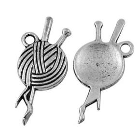 Metallanhänger, Wollknäuel, Silberfarben, 1 Stück