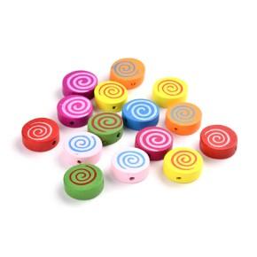 Holzperlen, Spirale, 16mm, Farbenmix, 10 Stück