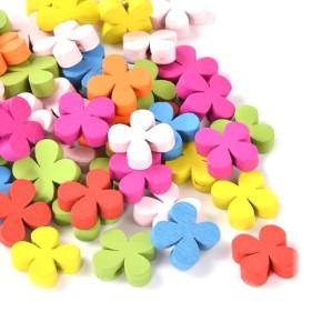 Holzperlen, Blume, 16mm, Farbenmix, 10 Stück
