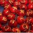 Holzperle, Rund, 7mm, rot mit hellen Strichen