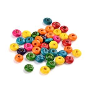 Holzperlen, Linse, 6mm, Farbenmix, 10g