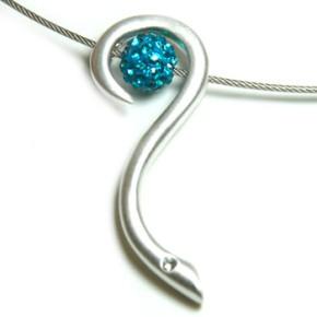 K-Design, Schlange, versilbert mit Swarovski-Kristall, 1 Stück
