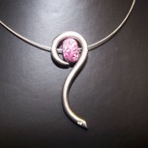K-Design, Schlange mit Swarovski-Kristall, Rhodiniert, 1 Stück