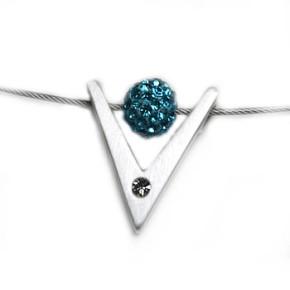 K-Design, V-klein, versilbert mit Swarovski-Kristall, 1 Stück