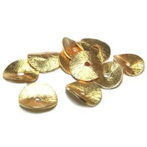 Kupferperle, Scheibe, Gewellt, 10mm, Vergoldet, Gebürstet, 1 Stück
