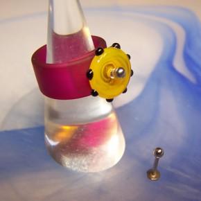 T-Stift für Wechselringe mit Kügelchen, Goldfarben, 8mm
