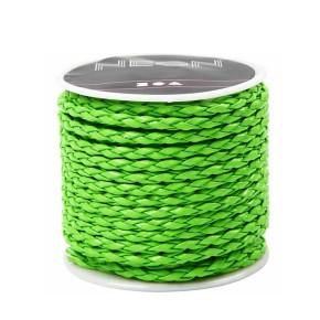 Lederband, Flechtleder, Neongrün, 3mm, 1 Meter