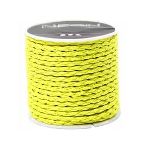 Lederband, Flechtleder, Neongelb, 3mm, 1 Meter