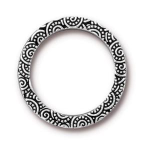 Casting, Ring, Verziert, 24mm, Antik Versilbert, 1 Stück