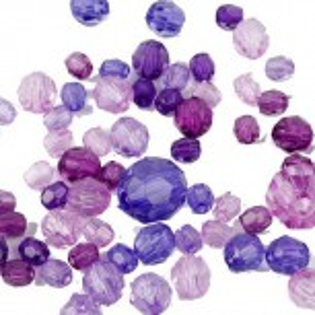 Facettperlenmix, Acrylperlen, Lila, Plastik, 20g
