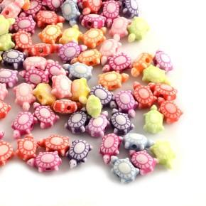 Acrylperlen, Schildkröten, Farbmix, 100 Stück