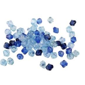 Acrylperlenmix, Bicon, Blau, 5mm, ca. 270 Stück
