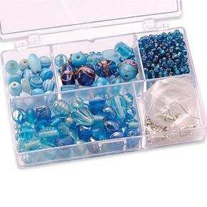 Sortimentsbox, Glasperlen, Hellblau, 1 Box