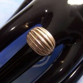 Fingerring aus Silber, Rillen, Bohne, 950 Silber