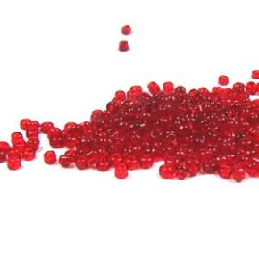 Rocailles, 2mm, transparent, Rot, 20g